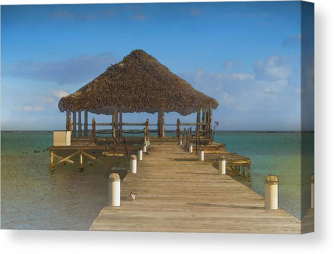 Belize Canvas Print featuring the digital art Beach Deck With Palapa Floating In The Water by Brandon Bourdages