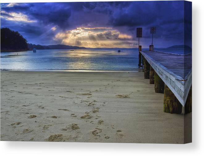 Sunset Canvas Print featuring the photograph Little Beach Sunset by Paul Svensen