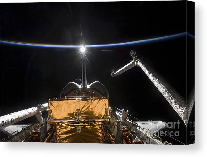 Atmosphere Canvas Print featuring the photograph Space Shuttle Atlantis Payload Bay by Stocktrek Images