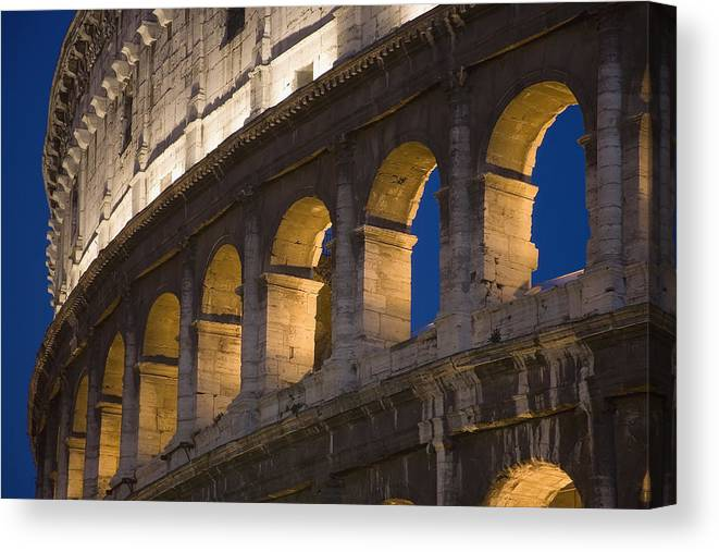 Urban Canvas Print featuring the photograph View Of The Roman Coliseum In Rome by Axiom Photographic