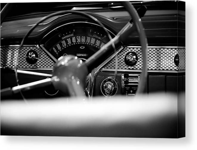 1955 Chevy Bel Air Dashboard In Black And White Canvas Print