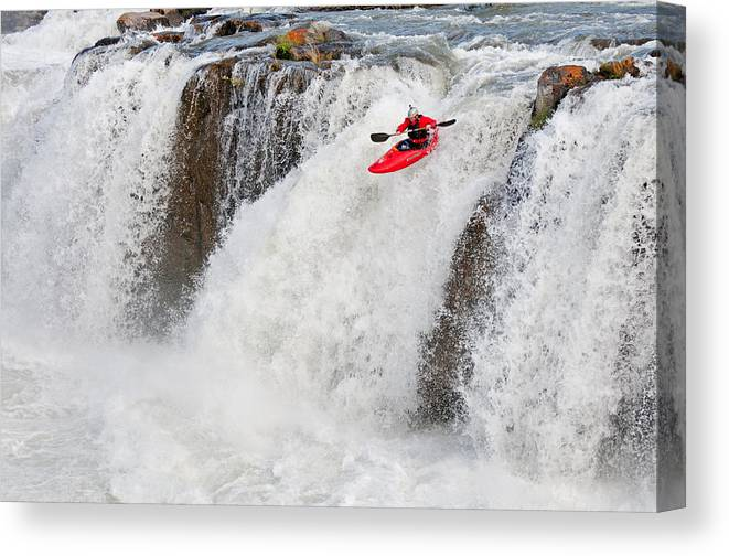 Ted Keyes Canvas Print featuring the photograph Kayaking by Elijah Weber