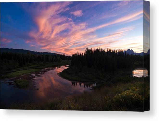 Sunset Canvas Print featuring the photograph A Wyoming Sunset by Ron Sloan