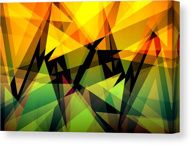 Abstract Canvas Print featuring the digital art Abstract Triangle Colorful Background by Nattapon Wongwean