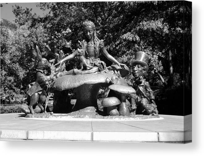 Central Park Canvas Print featuring the photograph Alice In Wonderland In Central Park In Black And White by Rob Hans