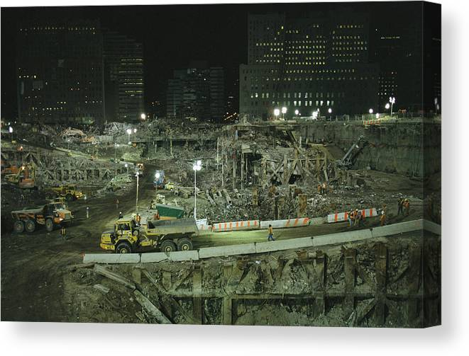 North America Canvas Print featuring the photograph An Elevated View Of Ground Zeros by Ira Block