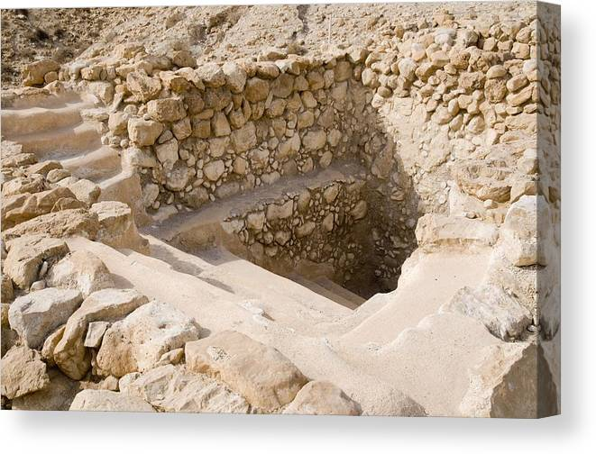 Ancient Ritual Bath In Qumran Canvas Print / Canvas Art by