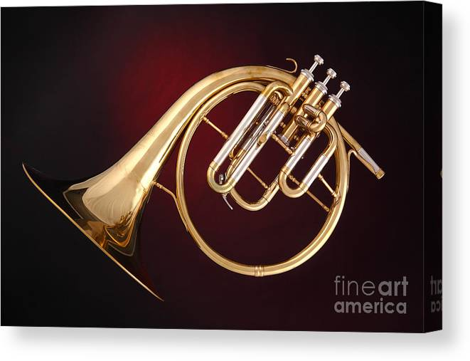 Antique French Horn Canvas Print featuring the photograph Antique French Horn On Deep Red by M K Miller