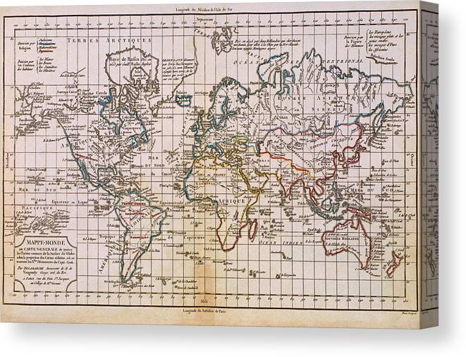 Antique Map Of The World Canvas Print / Canvas Art by Comstock