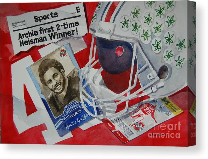 Archie Griffin Canvas Print featuring the painting Archie Griffin by Bill Dinkins
