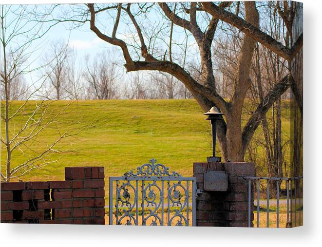 Levee Canvas Print featuring the photograph At The Levee by Karen Wagner