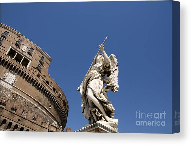 Works Canvas Print featuring the photograph Bernini Statue On The Ponte Sant Angelo by Bernard Jaubert