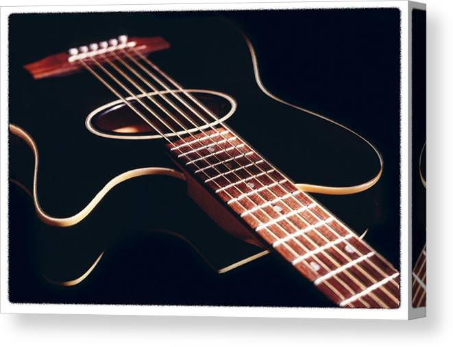 Cherry Canvas Print featuring the photograph Black Acoustic Guitar by Mike McGlothlen