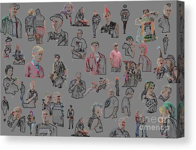 Punk Canvas Print featuring the mixed media Blackpool Punks 2011 by Dominique De Leeuw