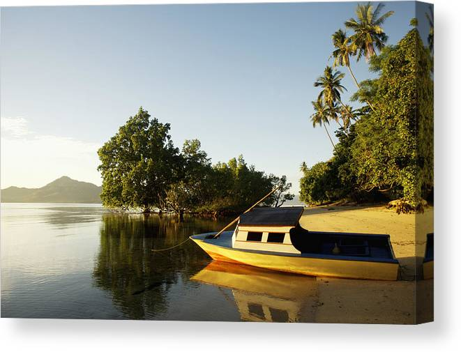 Photography Canvas Print featuring the photograph Boat On Sandy Beach by Axiom Photographic