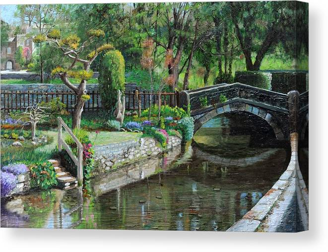 Scenic; Peak District; Garden; Flowers; Flower; Tranquil; Serene; English Landscape; Bridge; Bakewell; Derbyshire ; Tree; Trees; Water; Stairs Canvas Print featuring the painting Bridge And Garden - Bakewell - Derbyshire by Trevor Neal