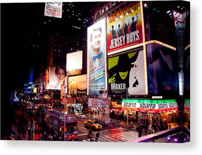 Times Square Colors Canvas Print featuring the photograph Broadway At Times Square by Heidi Reyher