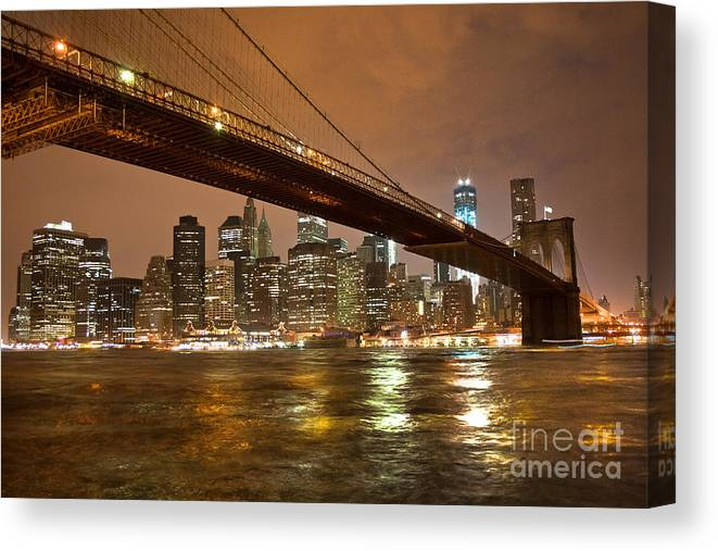 2012 Canvas Print featuring the photograph Brooklyn Bridge by Ken Marsh