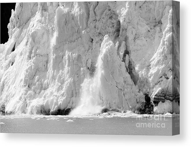 Glacier Canvas Print featuring the photograph Calving Glacier In Black And White by Sophie Vigneault