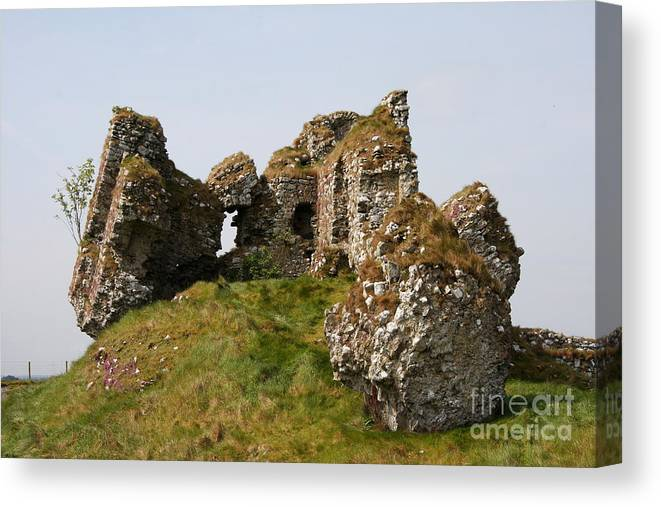 Clonmacnoise Castle Canvas Print featuring the photograph Clonmacnoise Castle Ruin - Ireland by Christiane Schulze Art And Photography