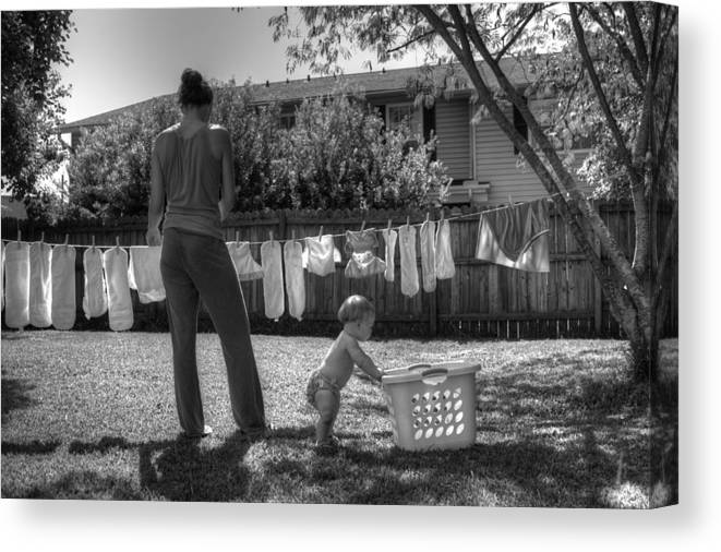 Diapers Canvas Print featuring the photograph Cloth Diapers On The Line by Justin Ellis