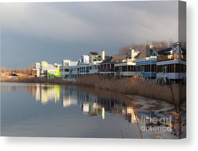 Homes Canvas Print featuring the digital art Colorful Homes On The Water by Christopher Purcell