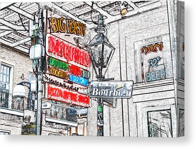 Travelpixpro New Orleans Canvas Print featuring the digital art Colorful Neon Sign On Bourbon Street Corner French Quarter New Orleans Colored Pencil Digital Art by Shawn O'Brien