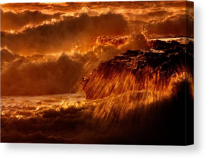 Waves Canvas Print featuring the photograph Crashing by Matt Trimble