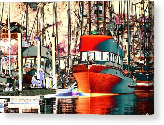 Water Canvas Print featuring the photograph Fishing Boat In Harbor by One Rude Dawg Orcutt