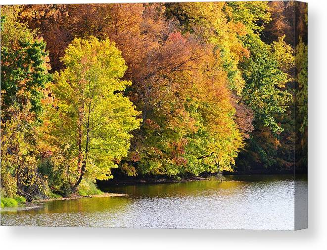 Fall Canvas Print featuring the photograph Foliage On The Pond by Kim Hymes