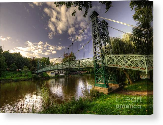 Shrewsbury Canvas Print featuring the photograph Footbridge Over The Severn by Rob Hawkins