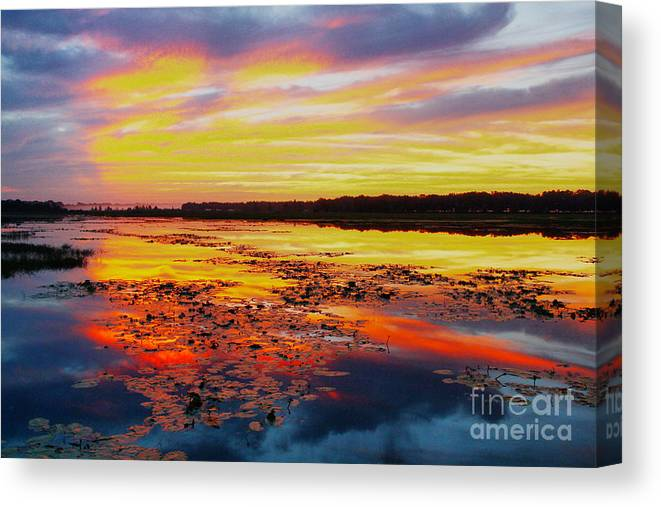 Sunrise Canvas Print featuring the photograph Glowing Skies Over Crews Lake by Barbara Bowen