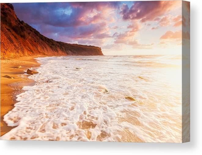 Black Sea Canvas Print featuring the photograph Golden Bay by Evgeni Dinev