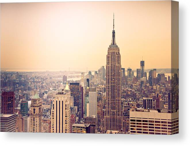 New York Canvas Print featuring the photograph Golden City Of New York by Heidi Reyher