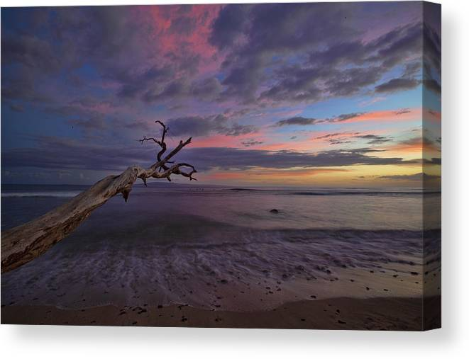 Maui Hawaii Grandpas Ebb Flow Sunset Colorful Seashore Canvas Print featuring the photograph Grandpa's by James Roemmling