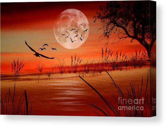 Sunset Canvas Print featuring the digital art Harvest Moon by Erica Hanel