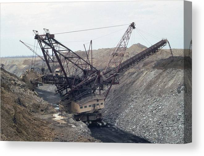 History Canvas Print featuring the photograph Huge Strip Mining Machinery Consuming by Everett