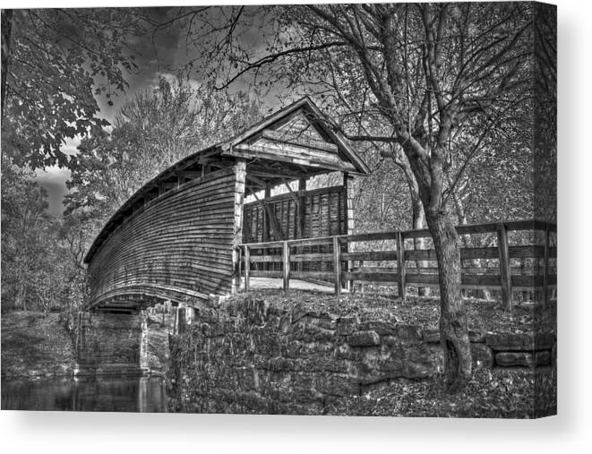 Humpback Bridge Canvas Print featuring the photograph Humpback Bridge Bw by Williams-Cairns Photography LLC