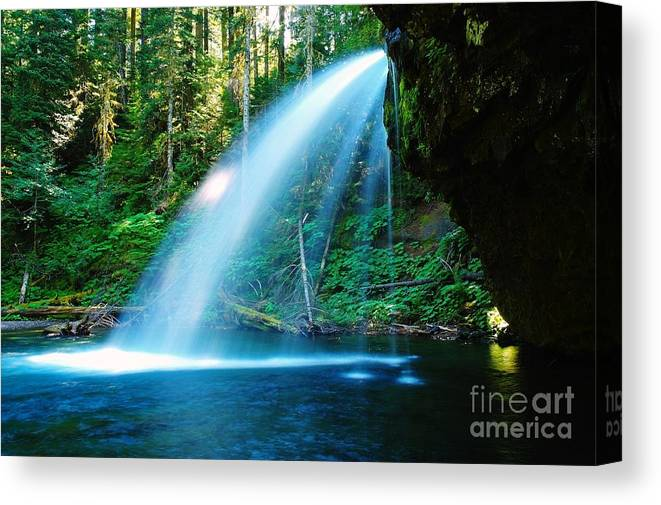 Water. Fall Canvas Print featuring the photograph Iron Creek Falls From The Side by Jeff Swan