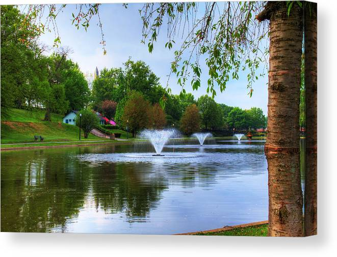Landscape Canvas Print featuring the digital art Italian Lake by Sharon Batdorf