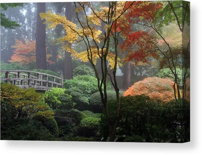 Japanese Gardens Fall Canvas Print featuring the photograph Japanese Gardens Fall by Wes and Dotty Weber