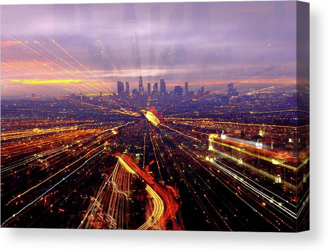 Horizontal Canvas Print featuring the photograph Long Exposure Of Cityscape by Albert Valles