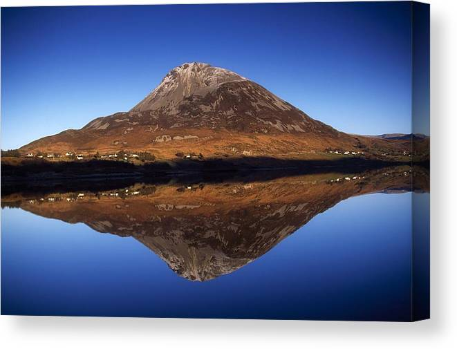 Lough Canvas Print featuring the photograph Mount Errigal, Lough Nacung, Dunlewy by Gareth McCormack