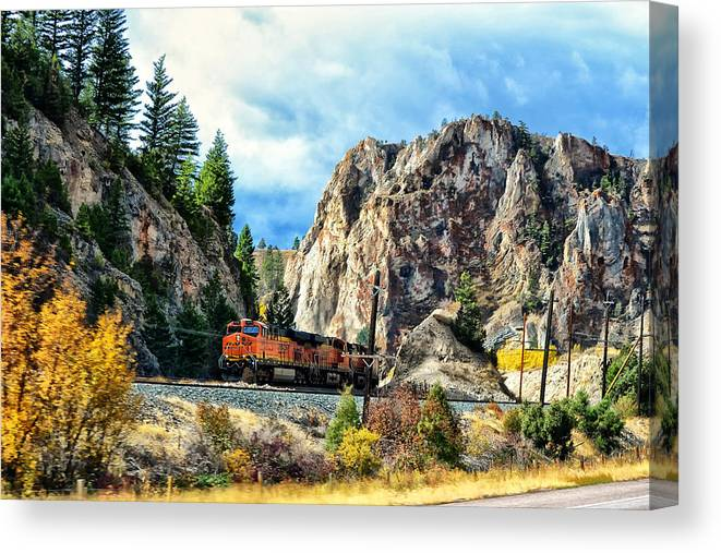 Montana Canvas Print featuring the photograph Mountain Train by Kelly Reber