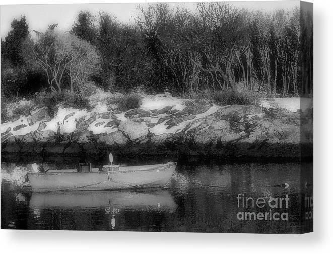 Boat Canvas Print featuring the photograph New England Skiff Bw by Mike Nellums