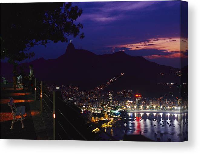 South America Canvas Print featuring the photograph Night View Of Rio De Janeiro From An by Richard Nowitz