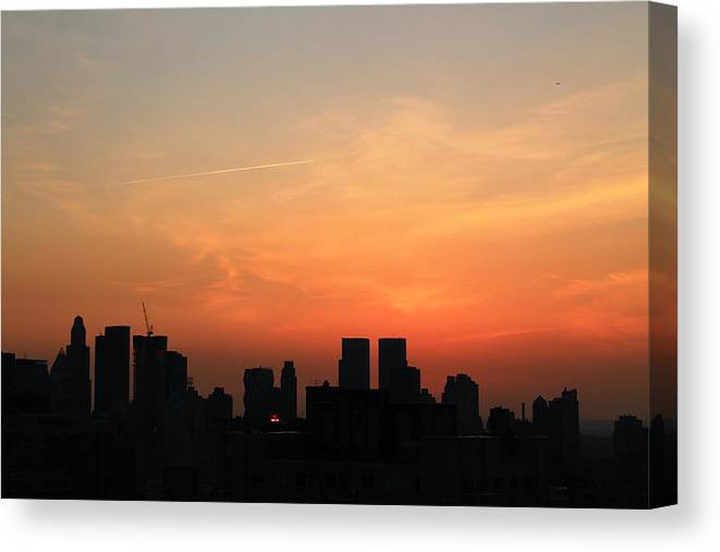 Sunset Canvas Print featuring the photograph Nyc Sunset by Catie Canetti