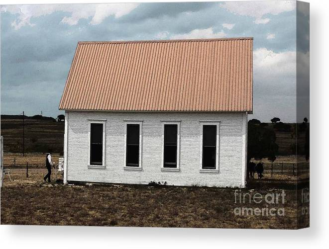 Cowboy Country Church Canvas Print featuring the photograph Old Time Sabbath by David Carter