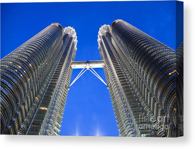 Tower Canvas Print featuring the photograph Petronas Tower Bridge Detail by Gualtiero Boffi