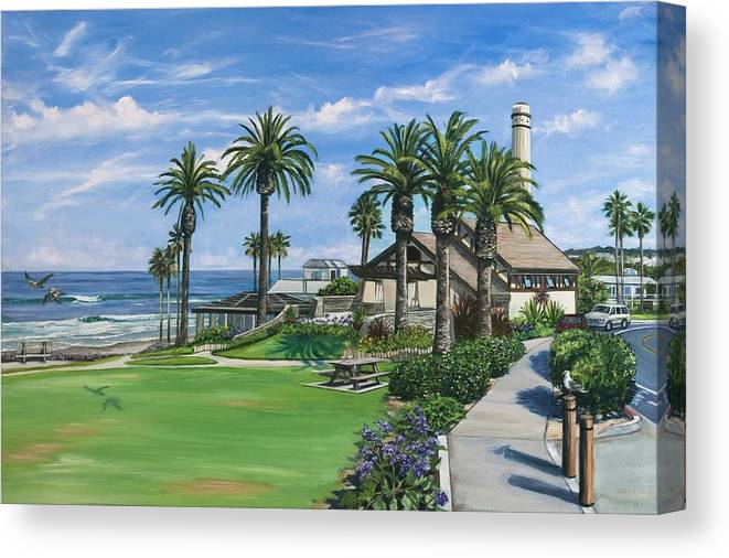Del Mar Canvas Print featuring the painting Powerhouse Park by Lisa Reinhardt
